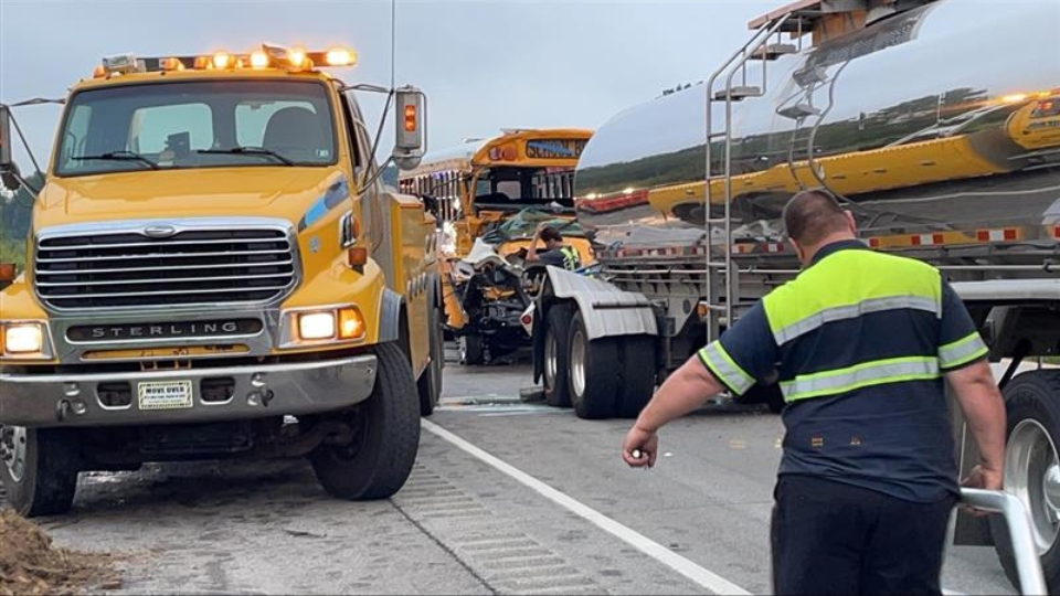 School bus and tanker crash on I-80 in Mercer County