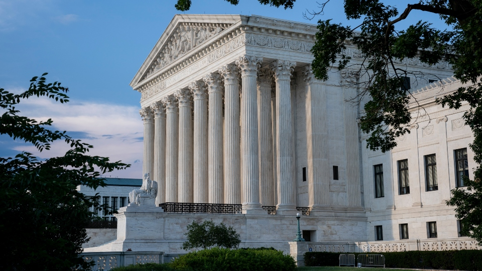 The Supreme Court is seen in Washington, Wednesday evening, June 30, 2021, as final decisions of the term are anticipated.