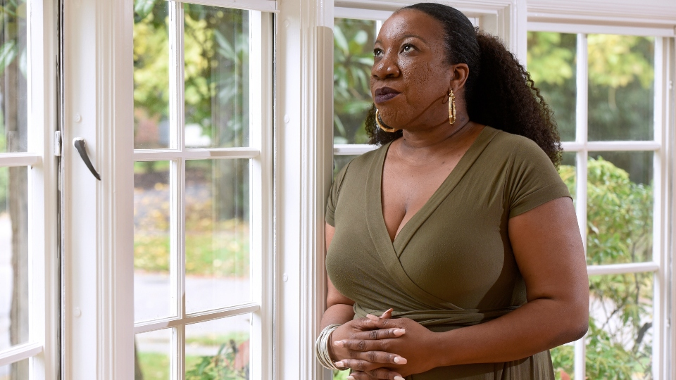 In this Tuesday, Oct. 13, 2020 file photo, Tarana Burke, founder and leader of the #MeToo movement, stands for a portrait in her home in Baltimore.