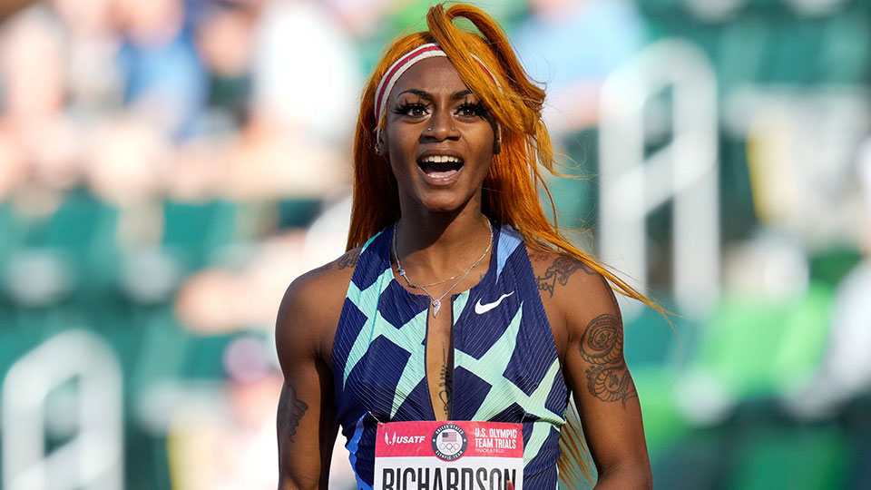 Sha'Carri Richardson celebrates after winning the first heat of the semis finals in women's 100-meter runat the U.S. Olympic Track and Field Trials in Eugene, Oregon