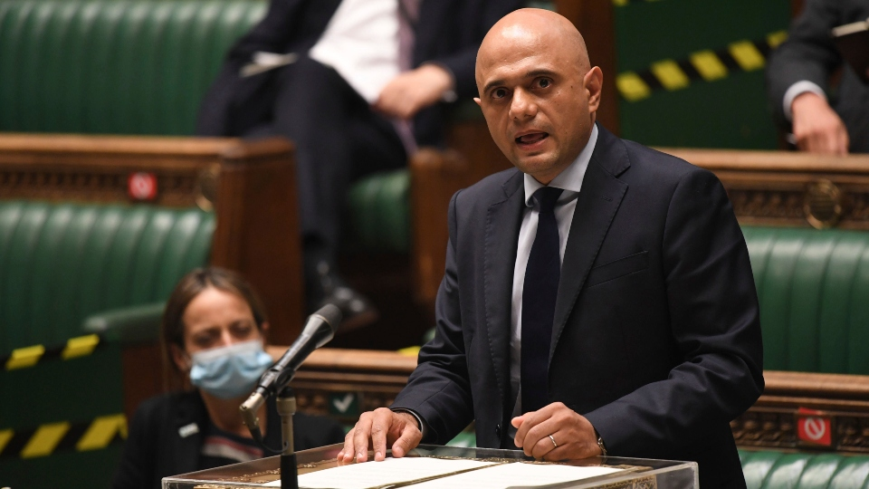 In this handout photo provided by UK Parliament, Britain's Health Secretary Sajid Javid updates MPs on the governments coronavirus plans, in the House of Commons, London, Monday, July 5, 2021.