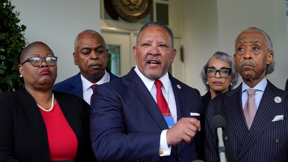 Marc Morial, center, President and Chief Executive Officer of the National Urban League, talks with reporters outside the West Wing of the White House in Washington, Thursday, July 8, 2021, following a meeting with President Joe Biden and leadership of top civil rights organizations.