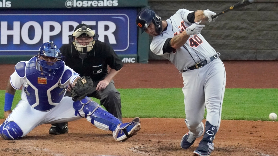 Detroit Tigers' Wilson Ramos bats during the third inning of a baseball game against the Detroit Tigers Friday, May 21, 2021, in Kansas City, Mo. (AP Photo/Charlie Riedel)