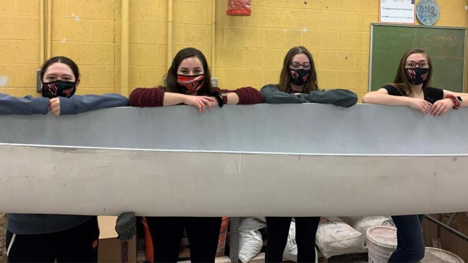 YSU Concrete Canoe team members, from left, are Jersey Gorby, Brooke Valley, Emma Minamyer and Taylor Greathouse (Jillian Penman missing from photo).