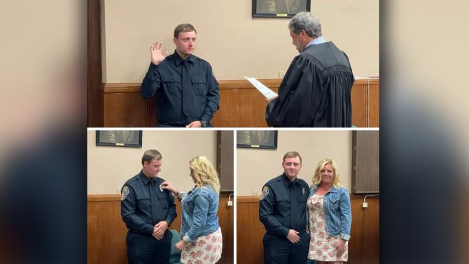 Jonathan Nolan was sworn in by East Liverpool Municipal Court judge Dominick Frank in July.