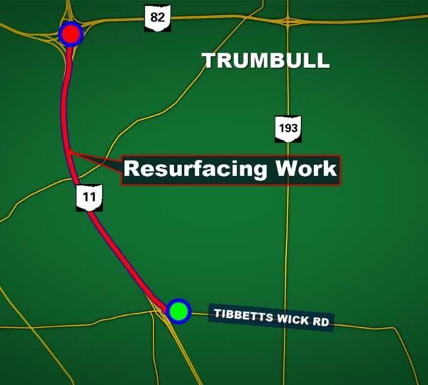 Route 11 will be resurfaced between the 82 exit and the Tibbetts Wick exit starting August 1.