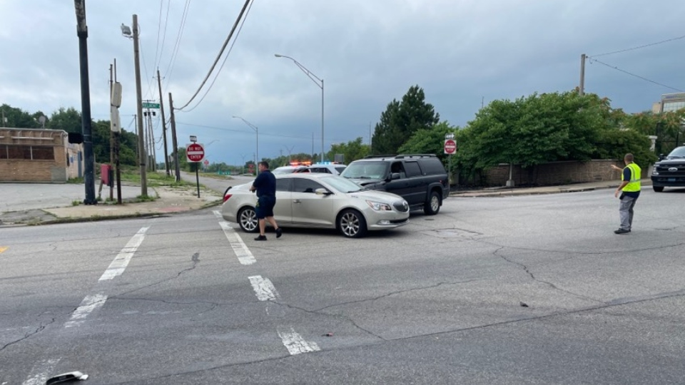 A two car accident on the corner of Eastbound Service Road and Belmont Avenue
