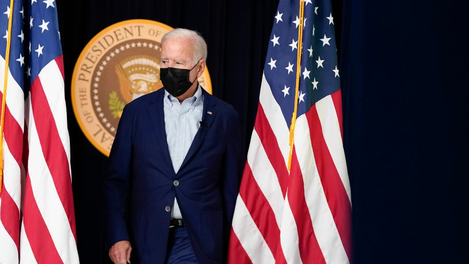 President Joe Biden arrives to attend a FEMA briefing on Hurricane Ida in the South Court Auditorium in the Eisenhower Executive Office Building on the White House Campus, Saturday, Aug. 28, 2021, in Washington. (AP Photo/Manuel Balce Ceneta)