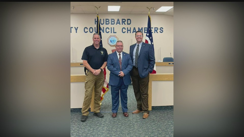 New Safety Director Bill Bancroft with Hubbard Mayor Ben Kyle and Police Chief Bob Thompson