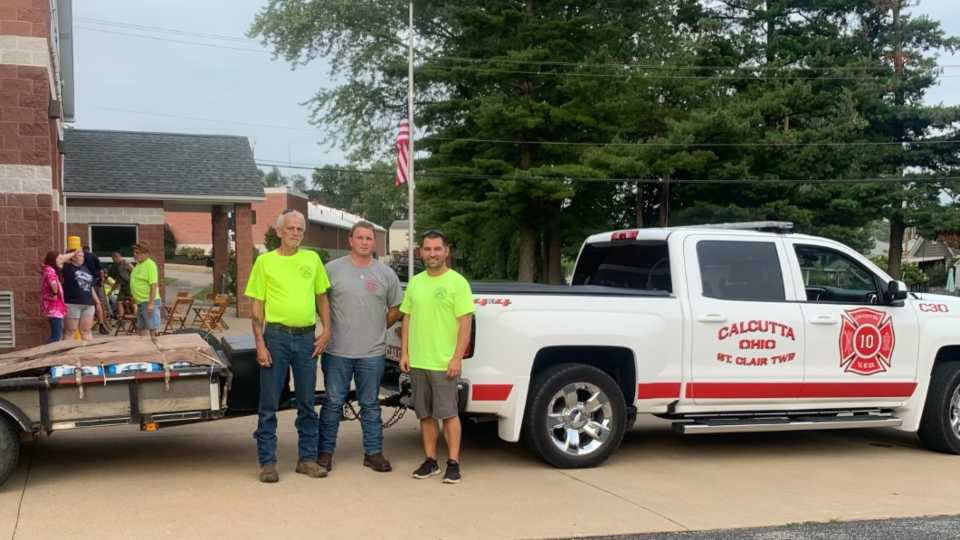 Three Calcutta firefighters were heading to Louisiana to help with search and rescue efforts in the destruction of Hurricane Ida.