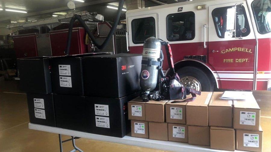 Campbell Fire Department New Air Bottles an Masks
