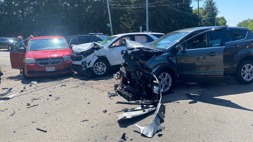 Three people were taken to the hospital after a three-car accident near the South Raccoon Road and Shields Road intersection in Canfield Township.