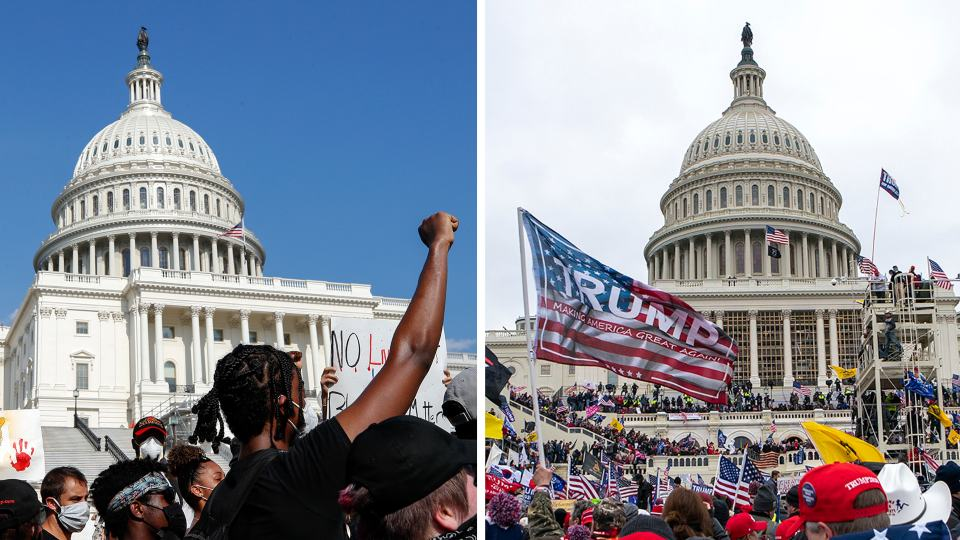 In this combination of photos, demonstrators, left, protest June 4, 2020, in front of the U.S. Capitol in Washington, over the death of George Floyd and on Jan. 6, 2021, supporters of President Donald Trump rally at same location. Some charged in the Jan. 6 riot at the U.S. Capitol as well as their Republican allies claim the Justice Department is treating them harshly because of their political views. They also say those arrested during last year's protests over racial injustice were given leniency. Court records tell a different story. An Associated Press review of court documents in more than 300 federal cases stemming from the protests sparked by George Floyd's death last year shows that dozens of people charged have been convicted of serious crimes and sent to prison. (AP Photos)