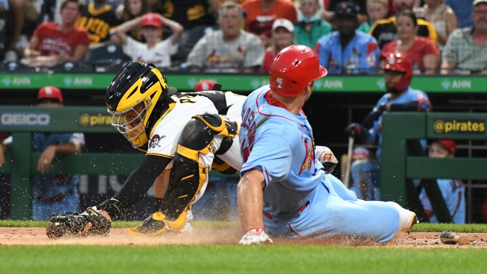 Pittsburgh Pirates catcher Michael Perez forces out St. Louis Cardinals' Paul Goldschmidt during the third inning of a baseball game Saturday, Aug. 28, 2021, in Pittsburgh. (AP Photo/Philip G. Pavely)