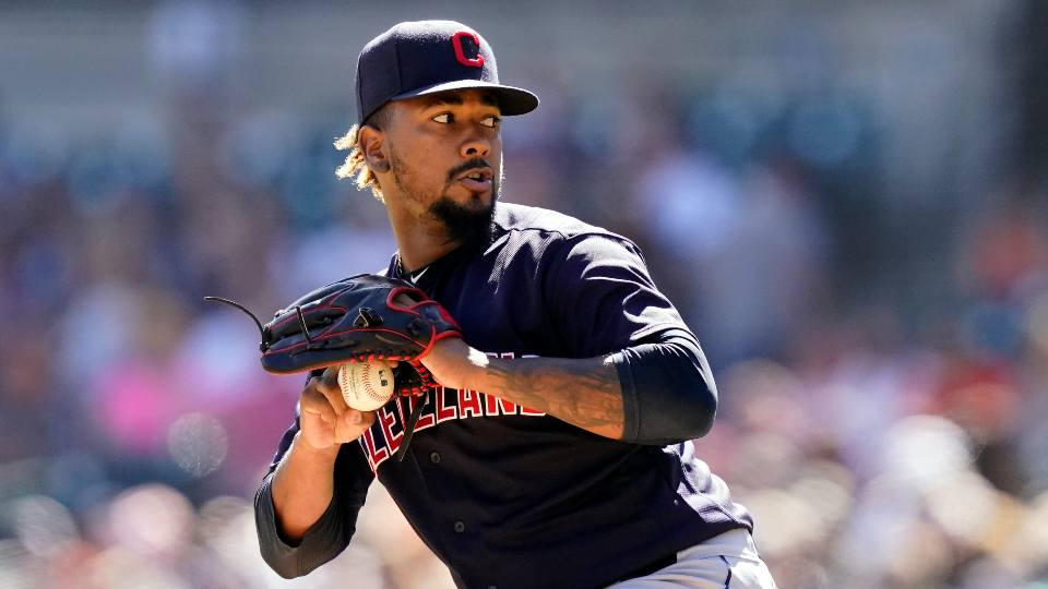Cleveland Indians relief pitcher Emmanuel Clase throws during the ninth inning of a baseball game against the Detroit Tigers, Sunday, Aug. 15, 2021, in Detroit.