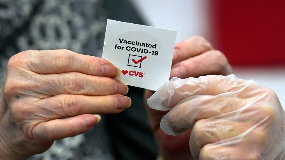 CVS COVID vaccine sticker
