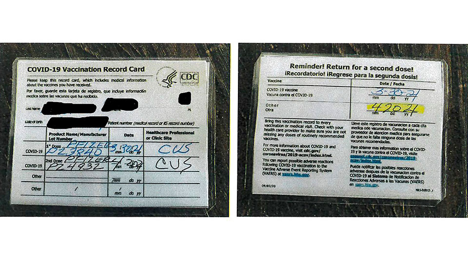 Fraudulent COVID-19 vaccination card