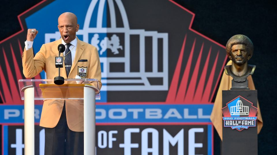 Drew Pearson, a member of the Pro Football Hall of Fame Class of 2021, speaks during the induction ceremony at the Pro Football Hall of Fame, Sunday, Aug. 8, 2021, in Canton, Ohio. (AP Photo/David Richard)