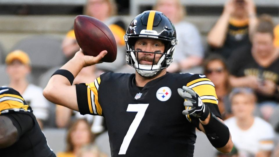 Pittsburgh Steelers quarterback Ben Roethlisberger throws a pass against the Detroit Lions during the first half of an NFL preseason football game Saturday, Aug. 21, 2021, in Pittsburgh. (AP Photo/Fred Vuich)
