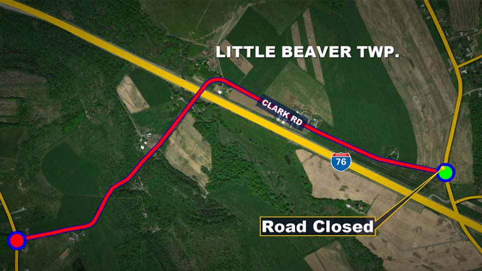Route 3002 Clark Road in Little Beaver Township is closed as replacement work begins on the bridge over Honey Creek.