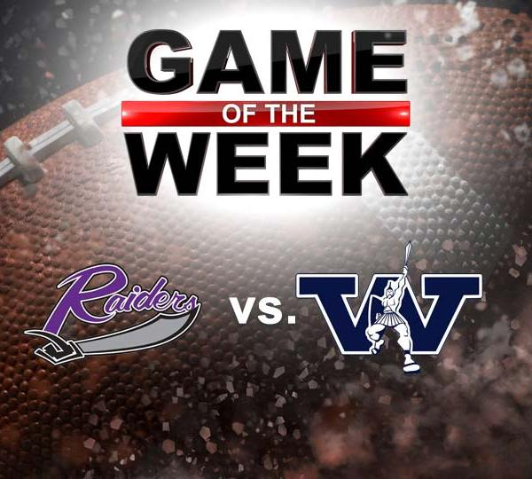 Mount Union Purple Raiders vs. Westminster Titans college football graphic (GOTW)