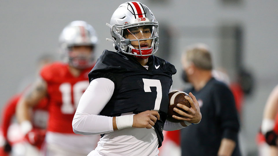 Ohio State quarterback C.J. Stroud runs through a drill during an NCAA college football practice in Columbus, Ohio, in this Monday, April 5, 2021