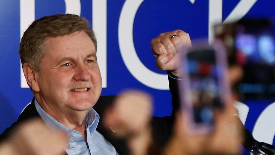 FILE - In this March 13, 2018, file photo, Republican Rick Saccone pumps his fist as he thanks supporters at the party watching the returns for a special election being held for the Pennsylvania 18th Congressional District vacated by Republican Tim Murphy in McKeesport, Pa. Saccone conceded defeat to Democrat Conor Lamb on Wednesday, March 21, in a closely watched special election in Pennsylvania, more than a week after the end of a remarkable race that has shaken GOP confidence ahead of the November midterm elections. (AP Photo/Keith Srakocic, File)