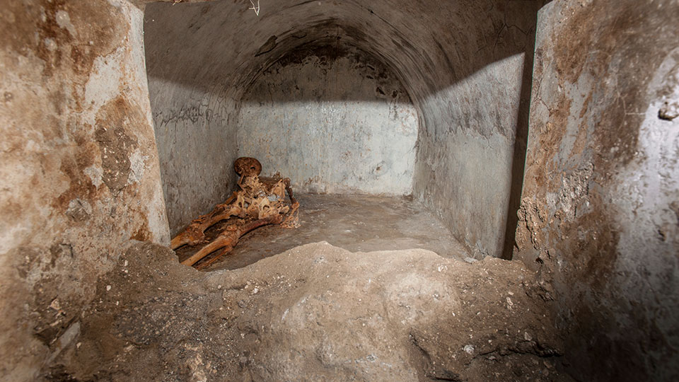 In this undated photo released by the Pompeii archeological park, a view of the tomb located in the necropolis of Porta Sarno, in an area not yet open to the public in the east of Pompeii's urban center