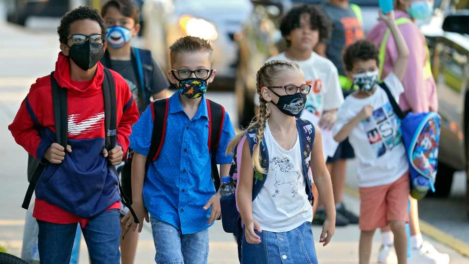 Back to school, students wearing masks