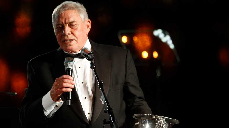 """In this Tuesday Oct. 30, 2012 file photo, Tom T. Hall accepts the Icon Award at the 60th Annual BMI Country Awards in Nashville, Tenn. Singer-songwriter Tom T. Hall, who composed """"Harper Valley P.T.A."""" and sang about life's simple joys as country music's consummate blue collar bard, has died. He was 85. His son, Dean Hall, confirmed the musician's death Friday, Aug. 20, 2021 at his home in Franklin, Tennessee."""