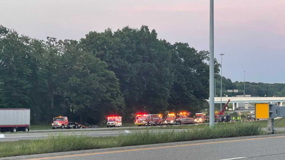An overturned semi caused a bit of a traffic headache Wednesday on Route 11 near 82 west exit ramp
