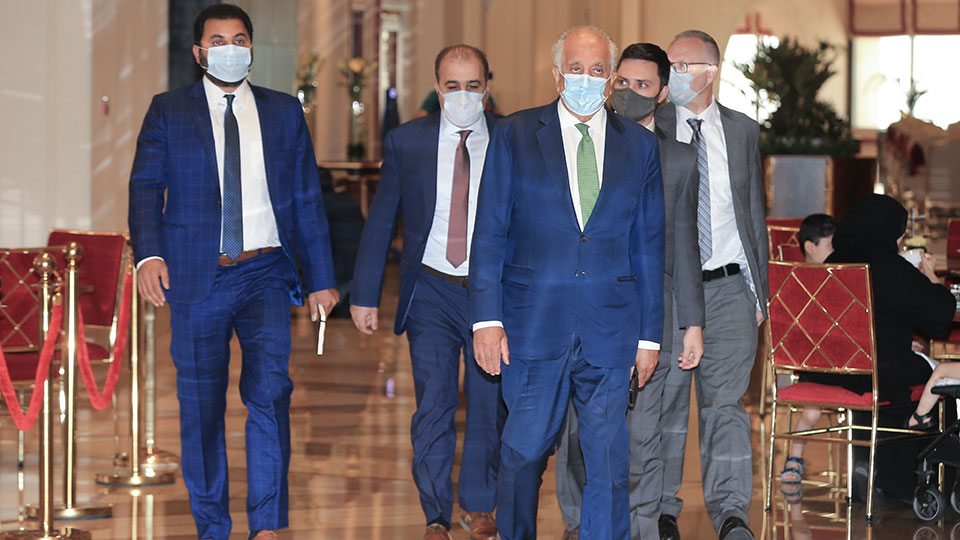 U.S. peace envoy for Afghanistan Zalmay Khalilzad arrives for talks in Doha, Qatar, Tuesday, Aug. 10, 2021