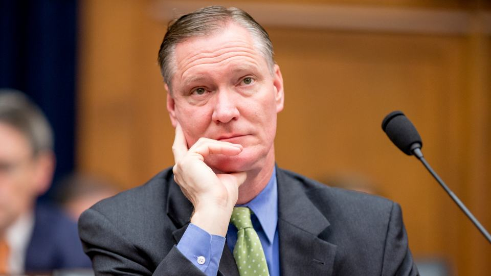 """FILE - Rep. Steve Stivers, R-Ohio, listens as Treasury Secretary Jacob Lew testifies on Capitol Hill in Washington, Wednesday, June 17, 2015, before a House Financial Services committee hearing. A Republican-backed bill that would prohibit Ohio employers from requiring workers to receive vaccinations was scheduled for additional testimony on Tuesday, Aug. 24, 2021. Lawmakers shouldn't be micromanaging businesses as they try to keep their employees safe, chamber president and CEO Steve Stivers said last week. """"No legislator can claim to be pro-business and at the same time support efforts to restrict an employer's ability to manage their workplace free from government interference,"""" said Stivers, a former Republican state lawmaker and U.S. congressman. (AP Photo/Andrew Harnik, file)"""