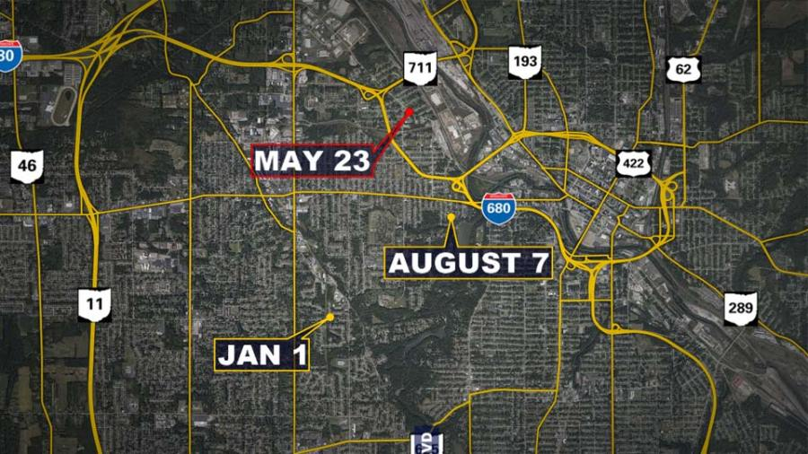 Shootings on Youngstown's west side in 2021. The date(s) outlined in red indicate a homicide.