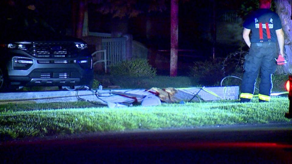 A driver hit a pole and left knocking out power at Canfield and Rogers roads early Tuesday