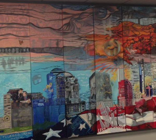 A 9/11 mural originally unveiled in 2011 found a permanent home at the Bazetta Fire Station.