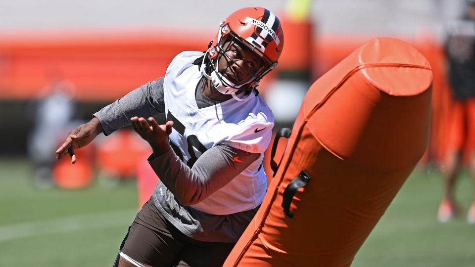 FILE - in this Thursday, June 17, 2021, file photo, Cleveland Browns defensive linemen Malik McDowell participates in a drill during NFL football practice at the team's training facility in Berea, Ohio. (AP Photo/David Dermer, File)
