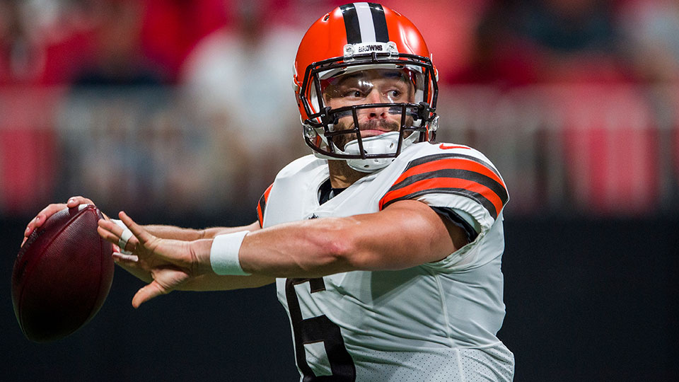 Cleveland Browns quarterback Baker Mayfield (6) works during the first half of a preseason NFL football game against the Atlanta Falcons, Sunday, Aug. 29, 2021, in Atlanta