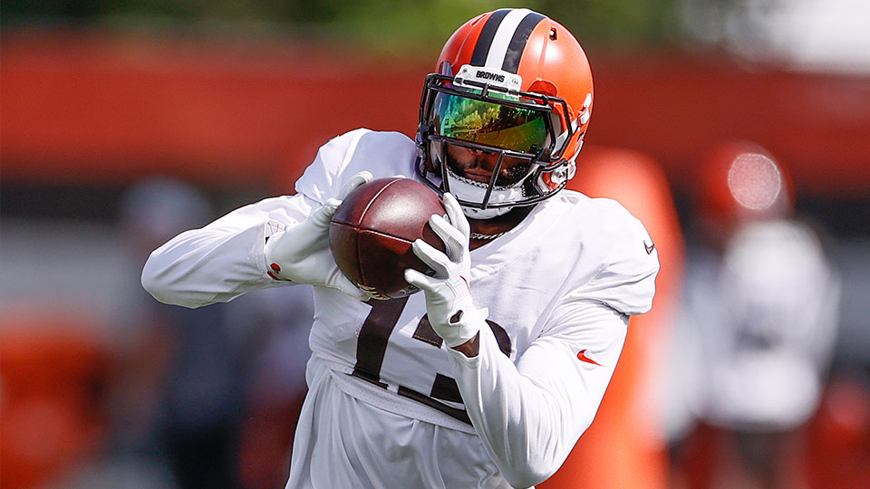 Cleveland Browns wide receiver Odell Beckham Jr. runs through a drill during NFL football practice Wednesday, Sept. 1, 2021, in Berea, Ohio