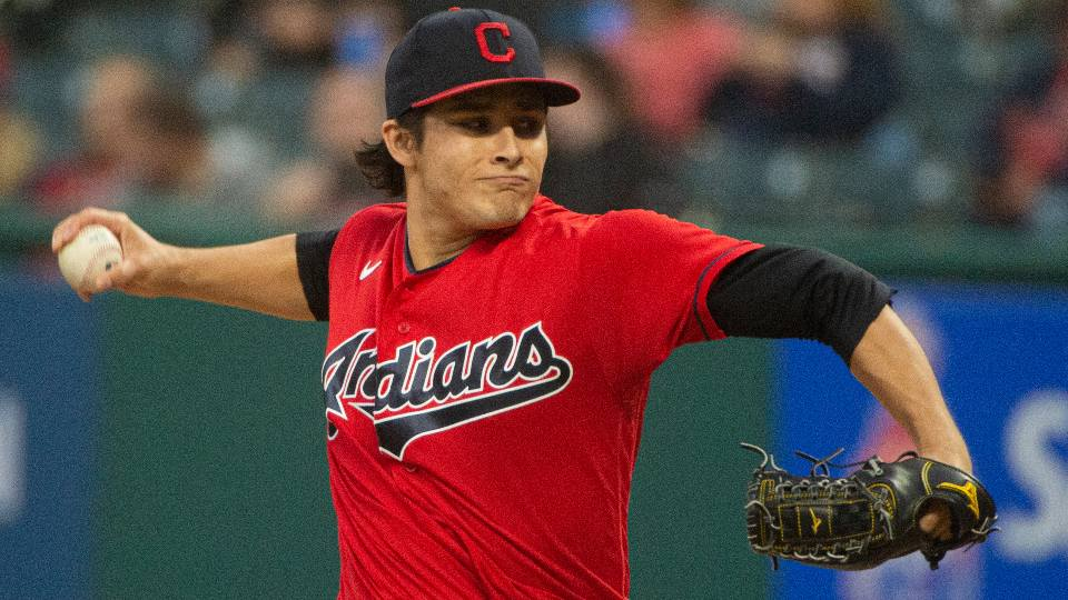 Cleveland Indians starting pitcher Eli Morgan delivers against the Chicago White Sox during the first inning of a baseball game in Cleveland, Saturday, Sept. 25, 2021.