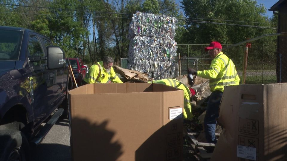 It was a beautiful morning Friday for cleaning up at Clover Recycling on North River Road and multiple businesses came out to help.