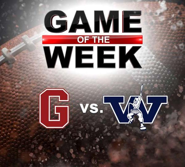 Grove City college Wolverines vs. Westminster Titans College football Game of the Week graphic