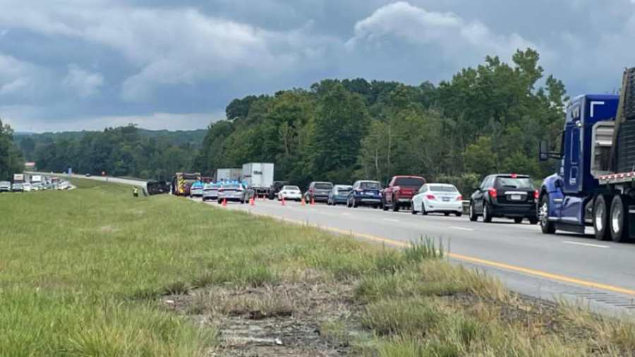 One lane of Interstate 80 has been blocked off after a rollover crash near Liberty Township Sunday afternoon.
