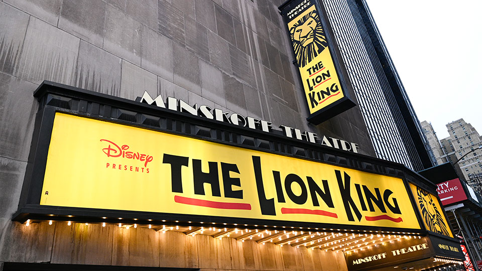 """The Minskoff Theatre, home f the musical """"The Lion King,"""" appears on May 24, 2021 in New York."""