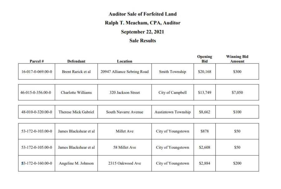 Mahoning County Auditor's Sale results