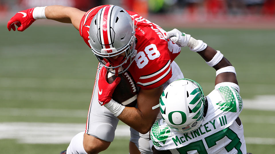 Ohio State tight end Jeremy Ruckert during the second half of an NCAA college football game Saturday, Sept. 11, 2021, in Columbus, Ohio