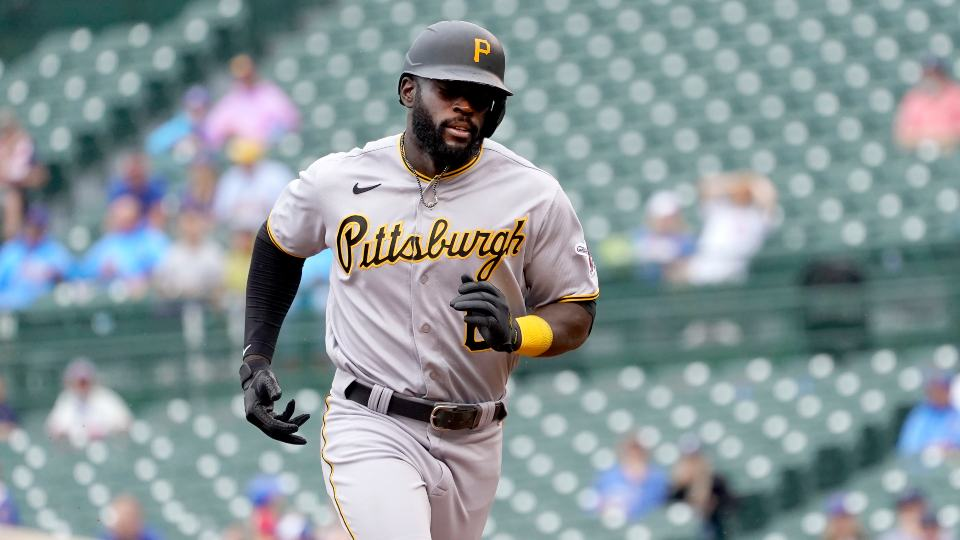 Pittsburgh Pirates' Anthony Alford rounds the bases after hitting a two-run home run off Chicago Cubs starting pitcher Alec Mills during the sixth inning of a baseball game Friday, Sept. 3, 2021, in Chicago. (AP Photo/Charles Rex Arbogast)