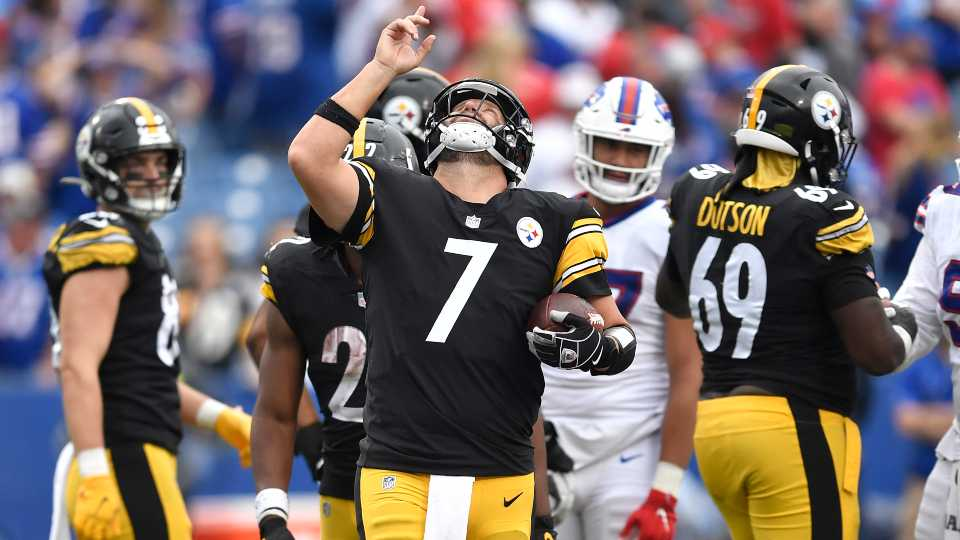 Pittsburgh Steelers quarterback Ben Roethlisberger (7) begins to celebrate as time runs out in a 23-16 Steelers win over the Buffalo Bills in an NFL football game in Orchard Park, N.Y., Sunday, Sept. 12, 2021.