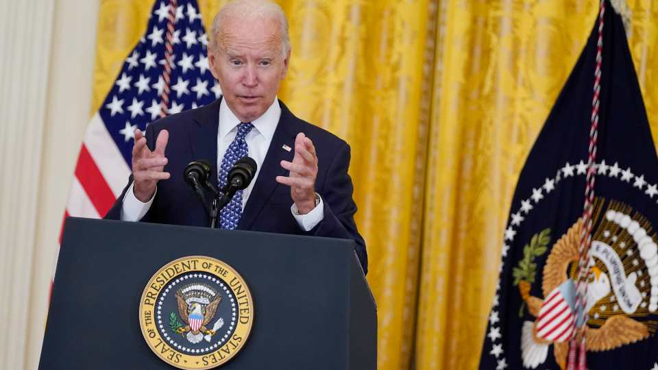 President Joe Biden speaks during an event to celebrate labor unions, in the East Room of the White House, Wednesday, Sept. 8, 2021, in Washington.