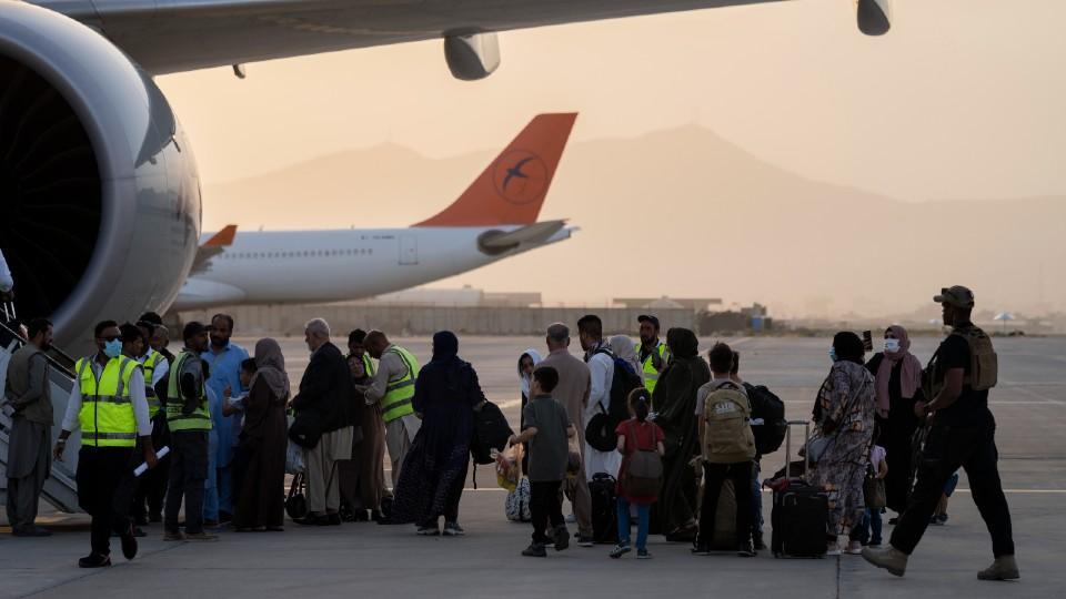 Qatar Airways aircraft in Kabul